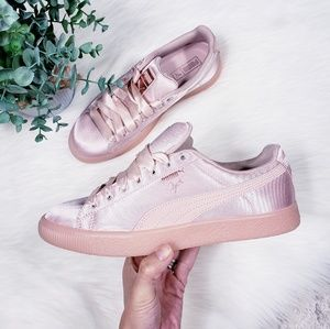 Puma satin pink Clyde sneakers NWOB
